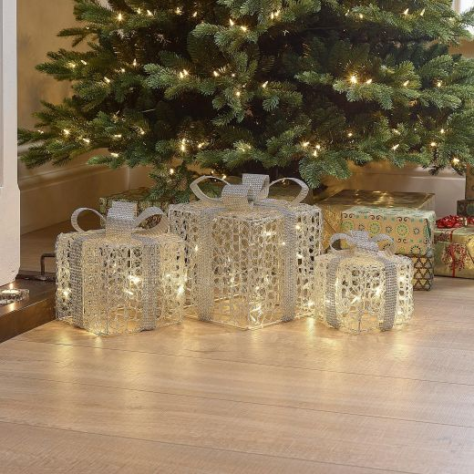 Set of 3 Soft Acrylic Small Christmas Parcels - Silver Bow