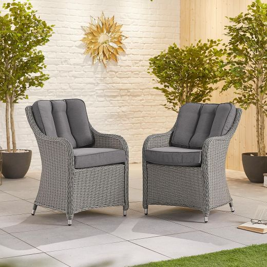 Pair of Camilla Dining Armchairs - White Wash