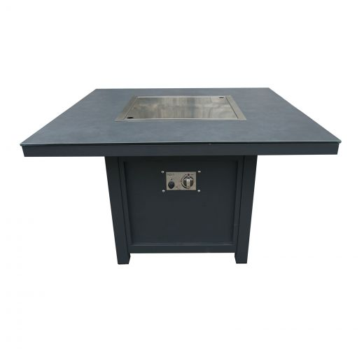 Vogue Aluminium 1m x 1m Square Firepit Table - Grey Frame