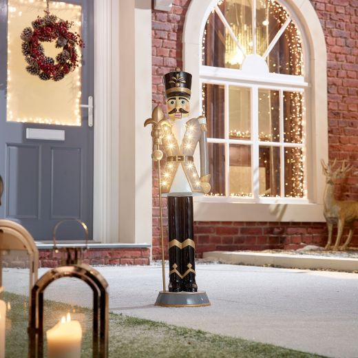 Norbert the 3ft Grey Christmas Nutcracker with Staff
