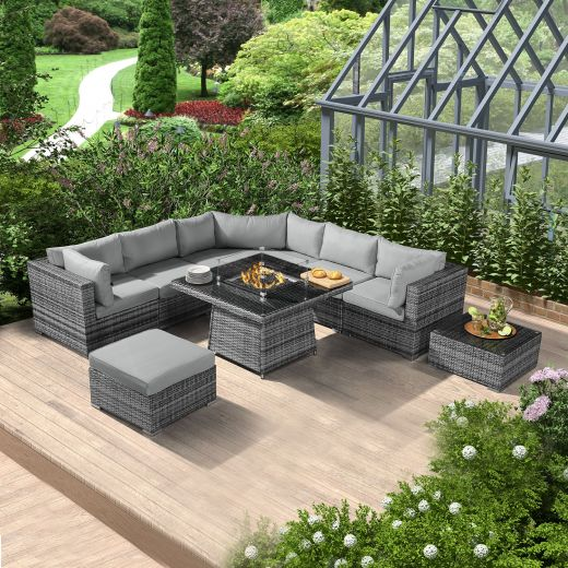 Hampton Casual Dining Rattan Corner Sofa Set with Gas Firepit Table - Grey