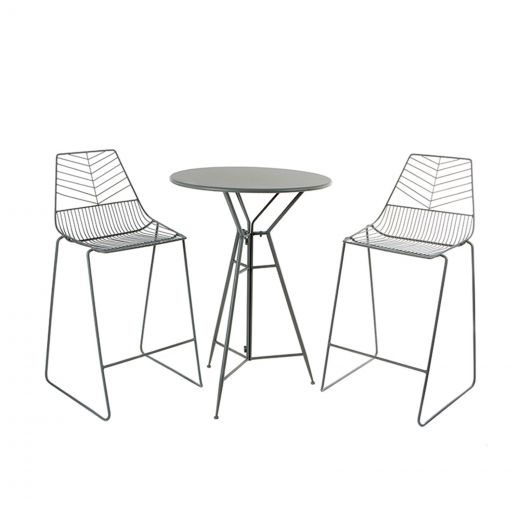 Messina 2 Seat Bar Set - 70cm Round Table - Grey