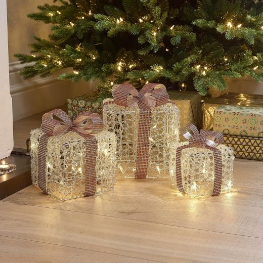 Set of 3 Soft Acrylic Small Christmas Parcels - Red Bow