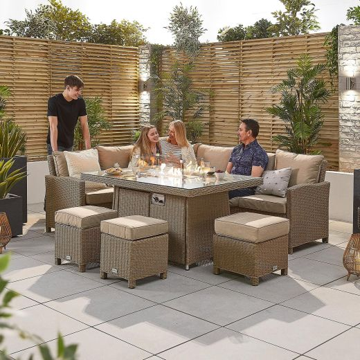 Ciara Left Hand Casual Dining Corner Sofa Set with Firepit Table - Willow