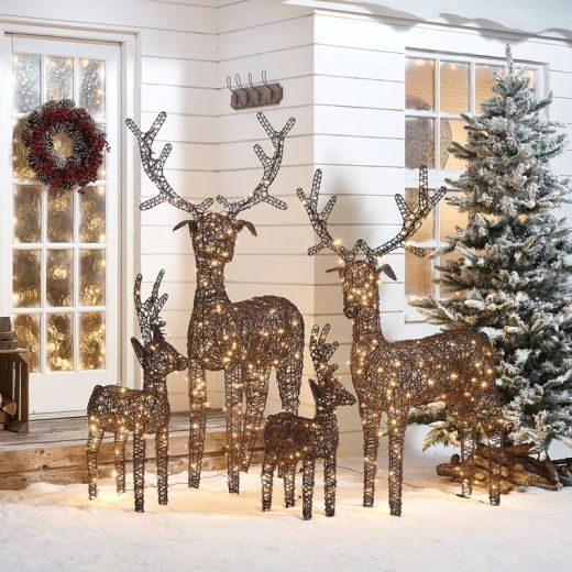 The Large Ralph Family - 180cm 150cm 100cm & 80cm Brown Rattan Christmas Reindeer