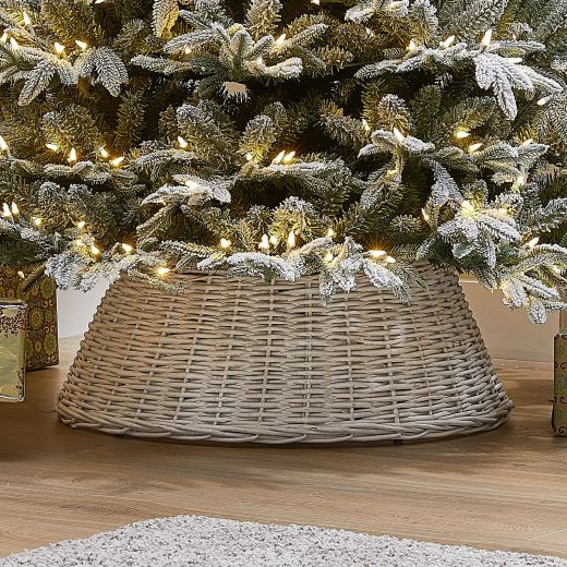 60cm Willow Christmas Tree Skirt Ring - White