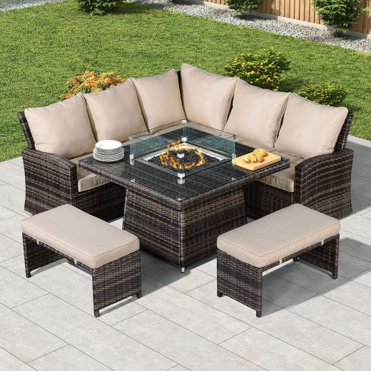 Compact Cambridge Casual Dining Corner Sofa Set with Firepit Table - Brown