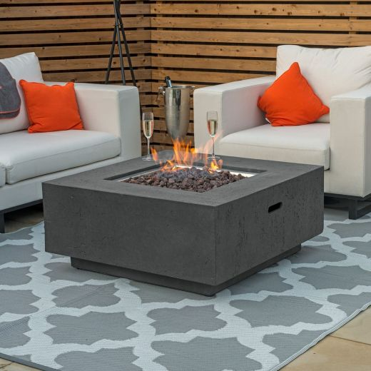 Fireglow Albany Square Gas Firepit Coffee Table - Dark Grey