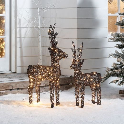 The Ralph Siblings - 100cm & 80cm Brown Rattan Christmas Reindeer