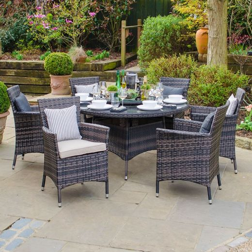 Amelia 6 Seat Dining Set - 1.3m Round Table - Brown