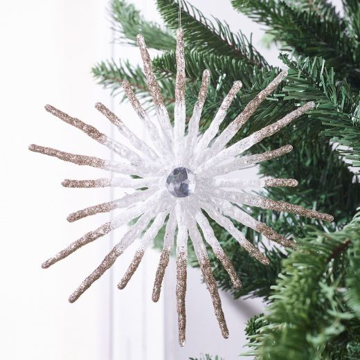 Crystal Ball Glitter Snowflake Hanging Ornament