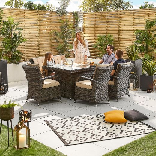 Olivia 6 Seat Rattan Dining Set - 1.5m x 1m Rectangular Firepit Table - Brown