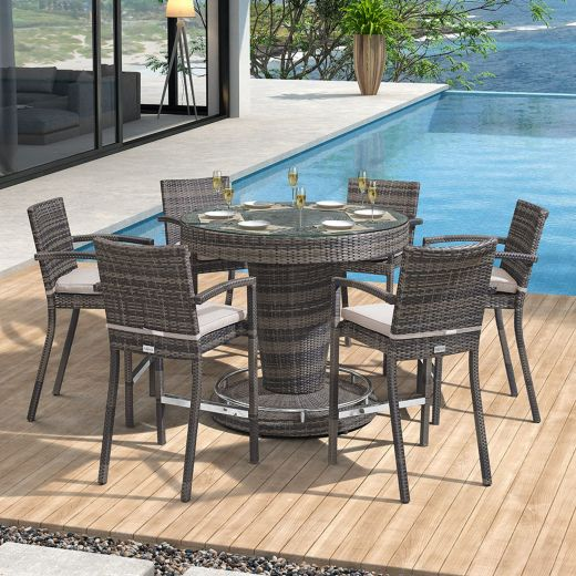 Henley 6 Seat Round Bar Set with Parasol Hole - Brown
