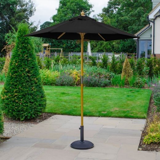 Dominica 2m Round Wooden Parasol - Pulley Operated - Black