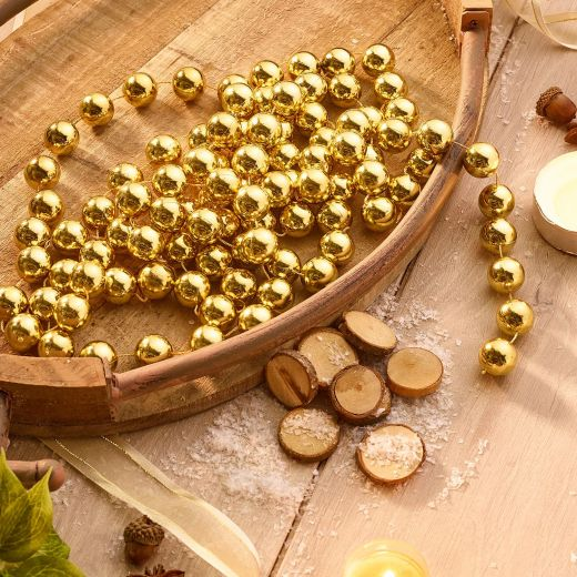 Country Christmas Plastic Bead Garland - Gold