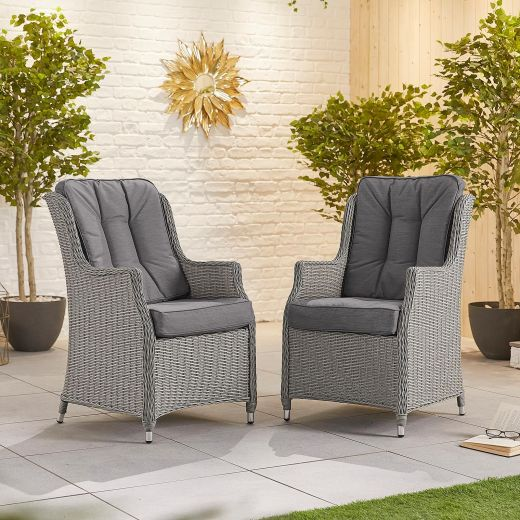 Pair of Thalia Dining Armchairs - White Wash