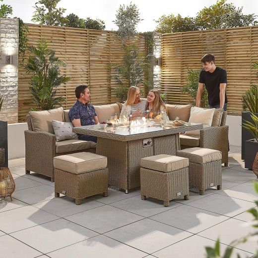 Ciara Right Hand Casual Dining Corner Sofa Set with Firepit Table - Willow