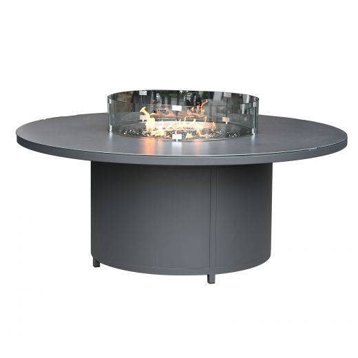 Round Aluminium Firepit Dining Table - 1.8m - Grey Frame