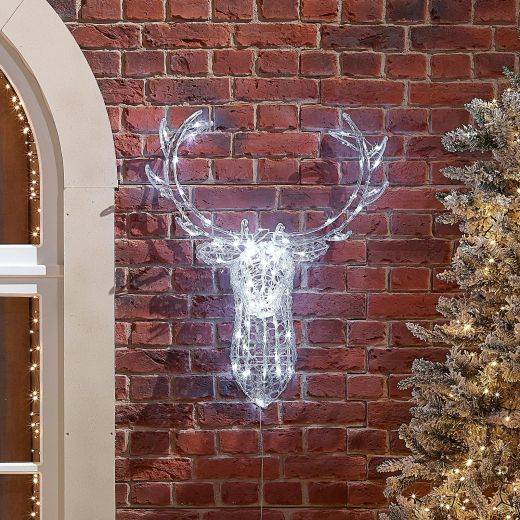 Raindrop the 80cm Soft Acrylic Christmas Reindeer Head - Cool White