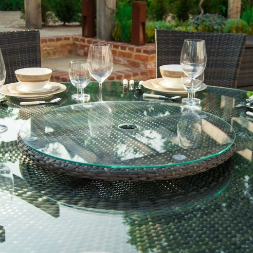 90cm Rotating Lazy Susan with Parasol Hole - Brown