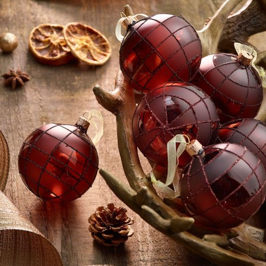 Christmas Rituals Set of 6 Matt Check Glass Baubles
