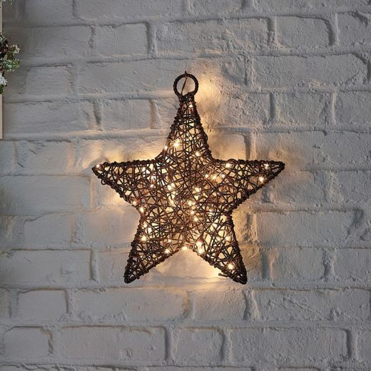 Ringo the 40cm Brown Rattan Christmas Star - Battery Operated