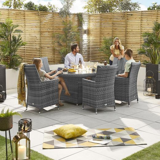Sienna 6 Seat Dining Set - 1.8m x 1.2m Oval Firepit Table - Grey