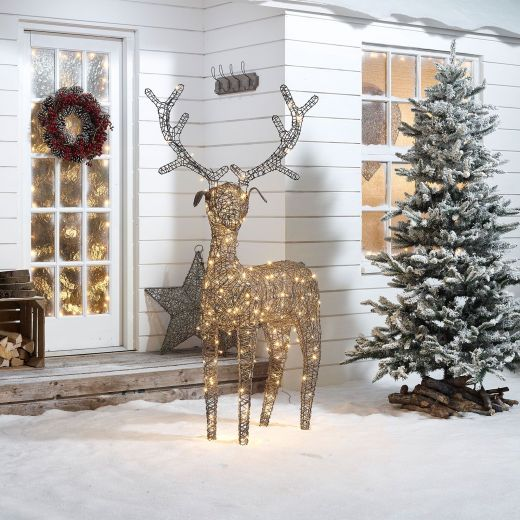 Ralph the 180cm Grey Rattan Christmas Reindeer