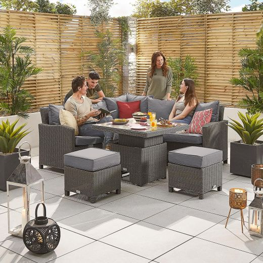 Compact Ciara Casual Dining Corner Sofa Set with Rising Table - Slate Grey