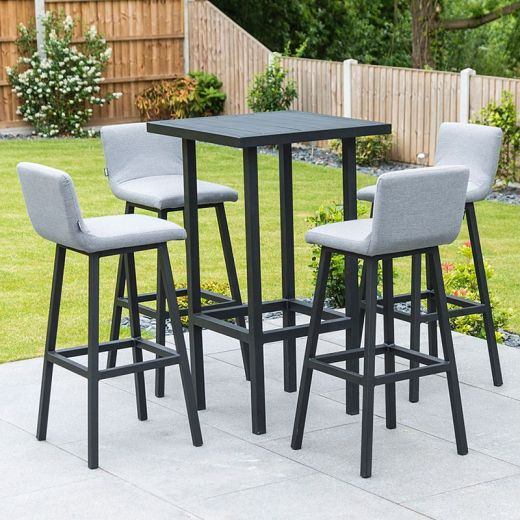 Chino Outdoor Fabric 4 Seat Bar Set - Flanelle