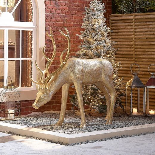 Precious the 161cm Gold Feeding Christmas Reindeer