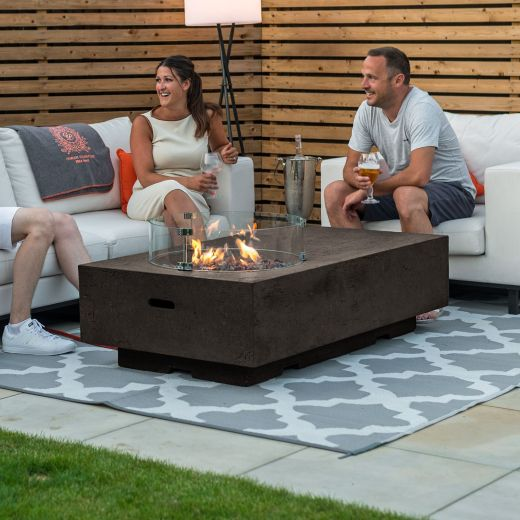 Fireglow Cairns Rectangular Gas Firepit Coffee Table with Wind Guard - Coffee