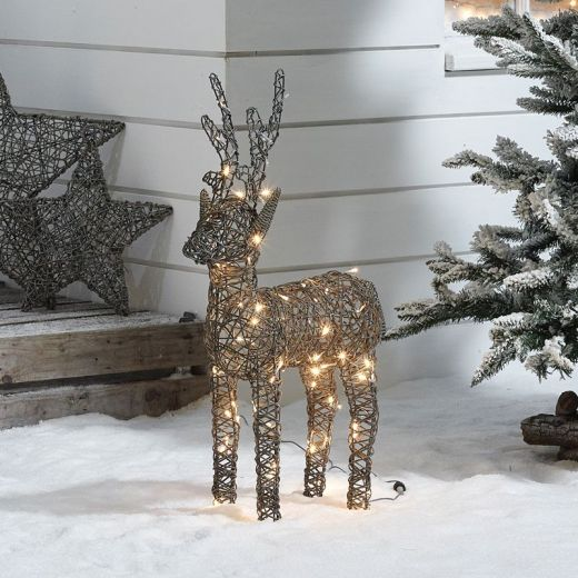 Baby Ralph the 80cm Grey Rattan Christmas Reindeer