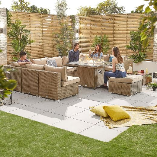 Chelsea 3C Rattan Corner Sofa Set with Gas Fire Pit Table - Willow