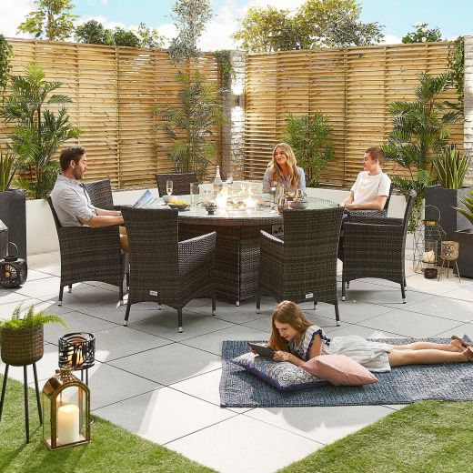 Amelia 8 Seat Dining Set - 1.8m Round Firepit Table - Brown