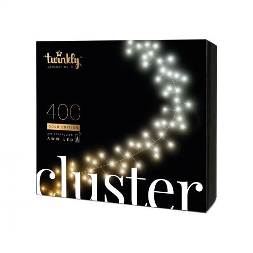 Twinkly 400 Gold Edition LED Smart App Controlled Christmas Cluster Lights (6m Lit Length)