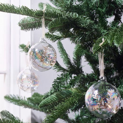 Country Christmas Set of 3 Glass Gold Leaf Baubles