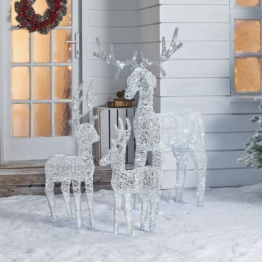 The Medium Ralph Family - 150cm 100cm & 80cm White Rattan Christmas Reindeer