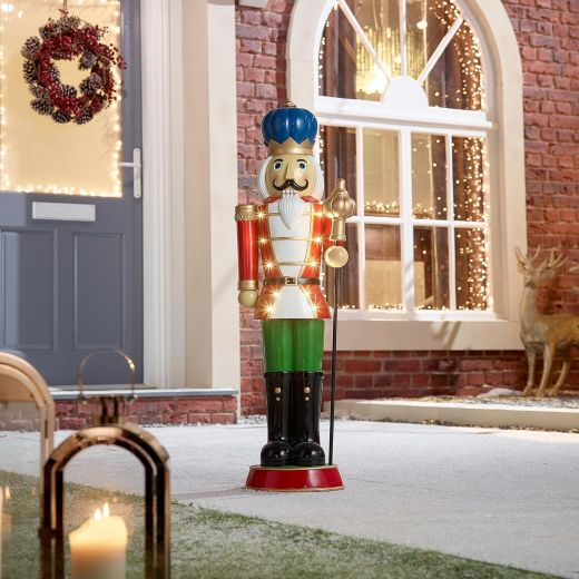 Noel the 3ft Red Christmas Nutcracker with Staff