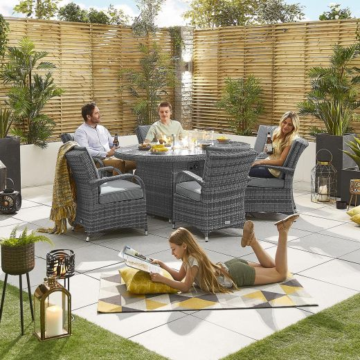 Nova - Olivia Fireglow 6 Seat Rattan Dining Set - 1.8m x 1.2m Oval Gas Fire Pit Table - Grey