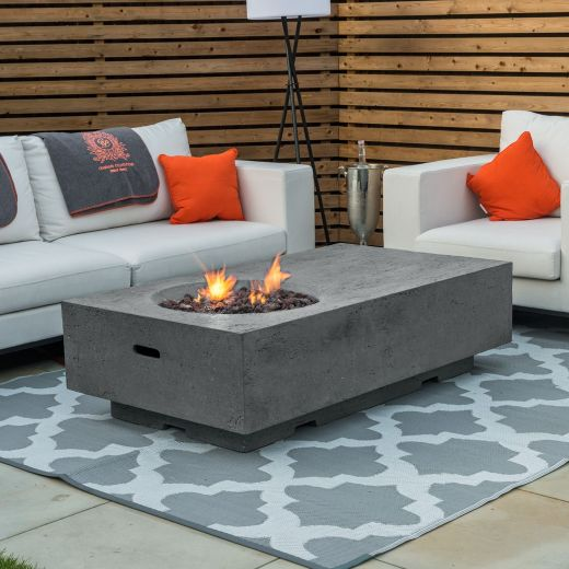 Fireglow Cairns Rectangular Firepit Coffee Table - Light Grey