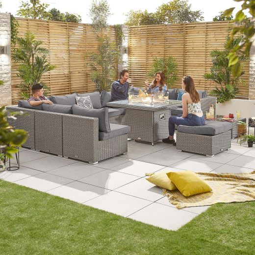 Chelsea 3C Rattan Corner Sofa Set with Gas Fire Pit Table - White Wash