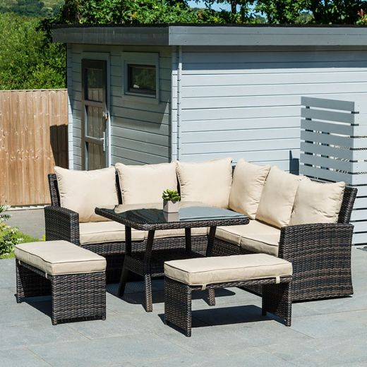 Compact Cambridge Casual Dining Corner Sofa Set with Parasol Hole - Brown