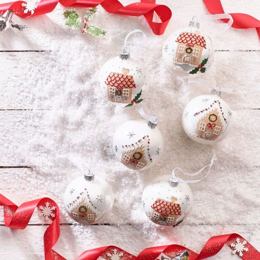 December to Remember Set of 6 Assorted Gingerbread House Glass Baubles