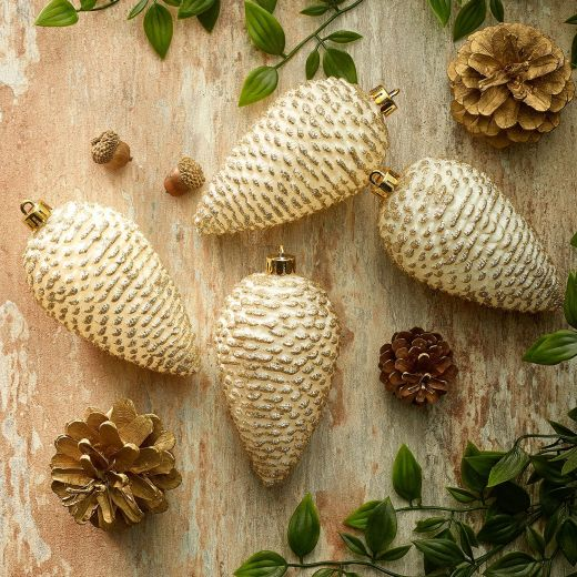 Embrace Nature Set of 4 Shatterproof Pinecone Ornaments