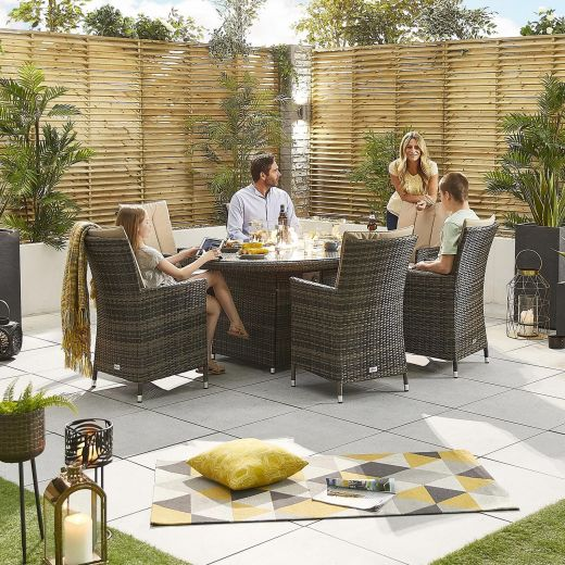 Sienna 6 Seat Dining Set - 1.8m x 1.2m Oval Firepit Table - Brown