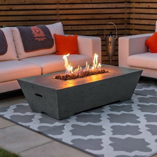 Fireglow Gladstone Rectangular Firepit Coffee Table - Light Grey