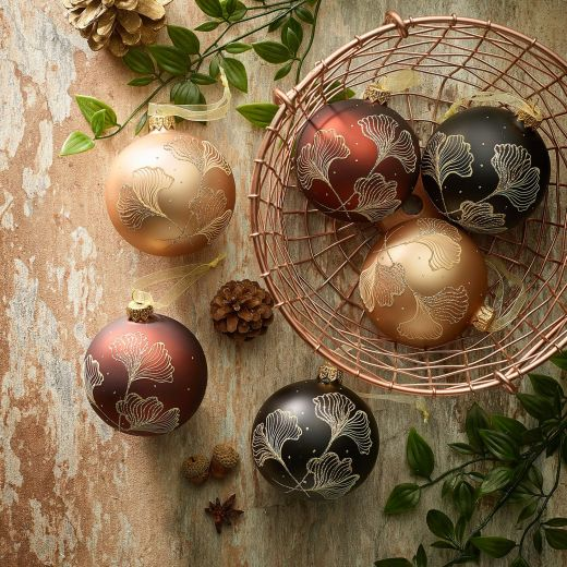 Embrace Nature Set of 6 Assorted Glass Pattern Baubles