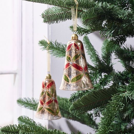 Country Christmas Set of 2 Glass Flower Decor Bell Ornaments