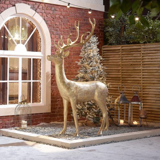 Promise the 213cm Gold Proud Standing Christmas Reindeer